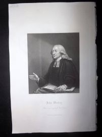 After Holl 1860 Antique Portrait Print. John Wesley, Religious
